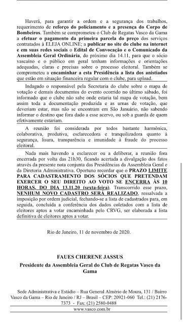 Em nota oficial, Mussa confirma suporte do Vasco para a realização da eleição online