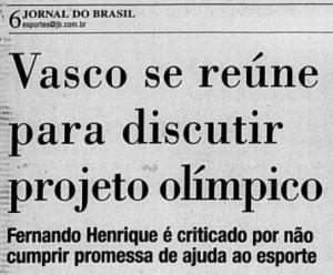 O COB e o presidente Fernando Henrique Cardoso foram criticados pela falta de investimento no esporte (Foto: Jornal do Brasil)
