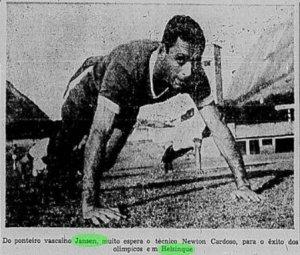 Foto do atacante Jansen, que era a grande esperança de gols da seleção olímpica de 1952 (Foto: Correio da Manhã)
