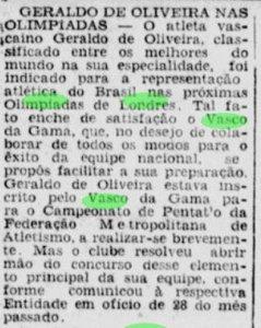 Matéria falando da satisfação do Vasco em ter Geraldo de Oliveira nos Jogos Olímpicos de 1948 (Foto: Jornal dos Sports)