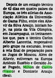 Reportagem falando sobre a preparação dos atletas brasileiros na Europa para os Jogos Olímpicos de Moscou (Jornal do Brasil)