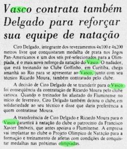 Reportagem sobre a contratação do medalhista olímpico Cyro Delgado em 1984 (Jornal do Brasil)