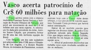 Projeto Olímpico de Natação do Vasco em 1984 (Jornal do Brasil)