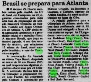 Matéria falando sobre as jogadoras convocadas para preparação do Brasil nas Olimpíadas (Foto: Jornal do Brasil)