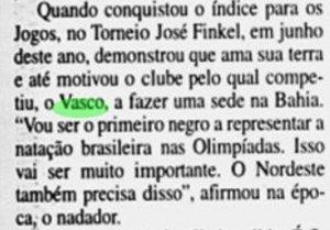 Edvaldo Valério foi o primeiro atleta brasileiro da natação negro que foi aos Jogos Olímpicos (Foto: Jornal do Brasil)