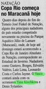 O Vasco contou com os atletas medalhistas Yana Klochkova e Denis Sylantiev, em 2000 (Foto: Jornal do Brasil)