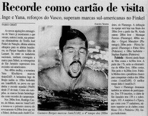 O Vasco que contava com nadadores brasileiros e estrangeiros quebrou inúmeros recordes no Troféu Finkel de 2000 (Foto: Jornal do Brasil / Evandro Teixeira)