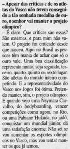 """Eurico respondendo aos questionamentos a respeito do """"Projeto Olímpico do Vasco"""" (Foto: Jornal do Brasil)"""